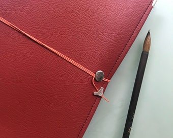Red Vegan Watercolor Journal Peregrine Notebook Brown and Orange Hemp Cording 40 pages LEGION STONEHENGE  140 Lb. COLD pressed paper