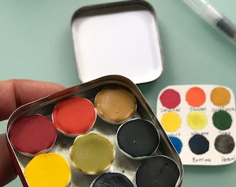 Handmade watercolor paint palette LIMITED edition 9 porcelain well- in vintage Typewriter Tin - with Water Brush and Free Shipping in US