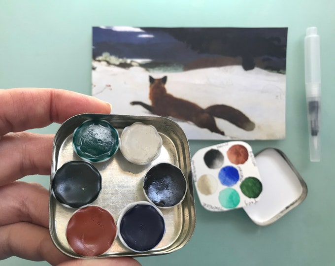 Handmade watercolor paint palette LIMITED edition 6 well ceramic pans- vintage Typewriter Tin - Inspired by Winslow Homer palette
