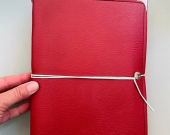 Large Cranberry Red VEGAN Leather Watercolor Journal with 40 pages LEGION 140 Lb, 300 gsm COLD pressed watercolor paper