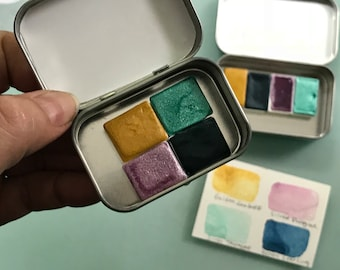 Handmade Watercolor SPARKLY handmade paint palette mini tin Peacock Kit