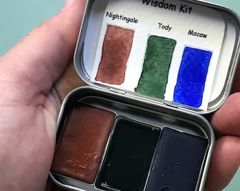 Handmade watercolor WISDOM  kit includes 3 Whole pans, Tin and Water brush Free Shipping US