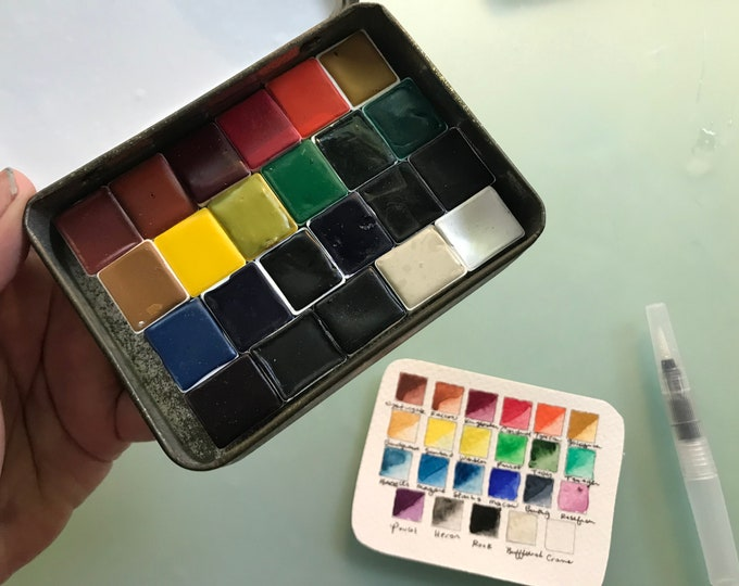 Limited Edition Watercolor Handmade Paint 23 HALF pans  non toxic watercolor paint set in VINTAGE Tobacco Tin