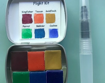 Watercolour paint Handmade Mini Tin FLIGHT kit Includes - 6 half pans - Free Tin and Waterbrush included