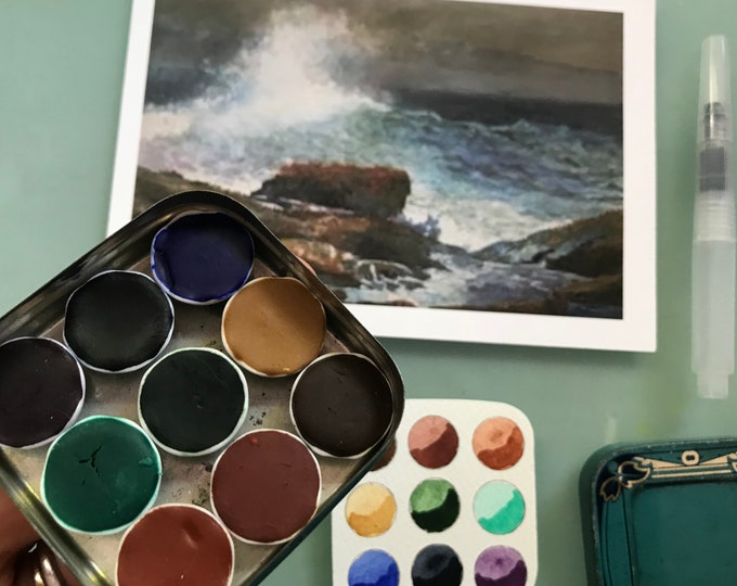 Handmade watercolor paint palette LIMITED edition 9 porcelain well- in vintage Typewriter Tin - Inspired by Winslow Homer with Water Brush