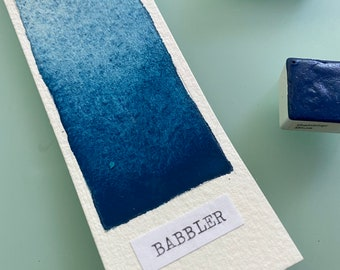 Handmade Watercolor paint PB27, PW6 Babbler Blue artist paint HALF and WHOLE pans - Non toxic