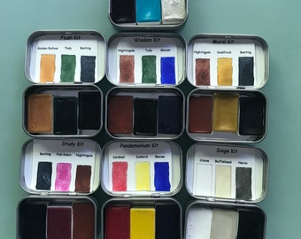 Handmade Tiny Watercolor Set for Traveling -3 Whole Pans, Includes Tin and Water brush
