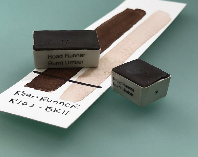 Handmade Watercolor paint Road Runner Burnt Umber  artist paint HALF and WHOLE pans -  Non toxic