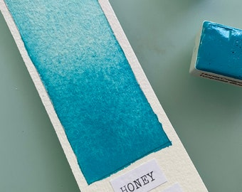 Handmade Watercolor paint PB28 Honey Creeper Turquoise Blue  artist paint HALF and WHOLE Pans  - Non toxic