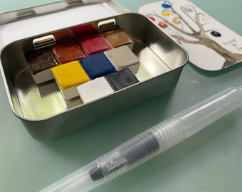 Handmade watercolor paint palette LIMITED edition 9 half pan in Tin inspired by Pieter Bruegel