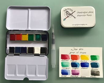Watercolor handmade travel paint palette tin - 12 half pans WISP kit -