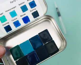 Watercolor handmade travel paint palette tin PARTY kit Includes - 8 half pans - Free Tin and Water brush included