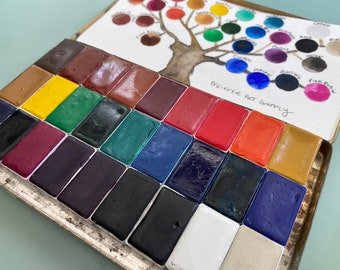 Handmade watercolor paint palette LIMITED edition 27 WHOLE pan in Pencil Tin