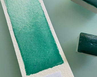 Handmade Watercolor paint PG7 Tanager Turquoise  artist paint  HALF and WHOLE pans - Non toxic