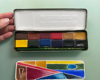Limited Edition Watercolor Handmade Paint 12 WHOLE pans  watercolor paint set in vintage Pencil Tin FREE Shipping in U.S