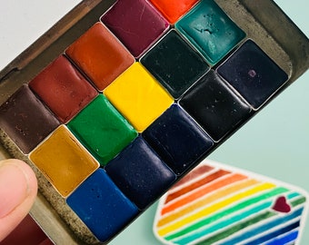 Limited Edition Watercolor Handmade Paint 15 half pans watercolor paint set in vintage Tobacco Tin FREE Shipping in U.S