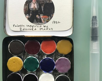 Handmade watercolor paint palette LIMITED edition 12 porcelain well- in vintage Tobacco Tin Inspired by Edouard Manet