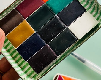 Limited Edition Watercolor Handmade Paint 12 WHOLE pans  watercolor paint set in vintage Tobacco  FREE Shipping in U.S