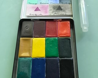 Watercolor paint palette watercolour kit handmade LIMITED edition 14 LARGE PANS- in vintage Tobacco Tin