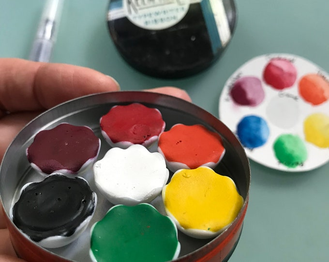 Handmade watercolor paint palette LIMITED edition 7 porcelain well- in vintage Typewriter Tin - with water brush