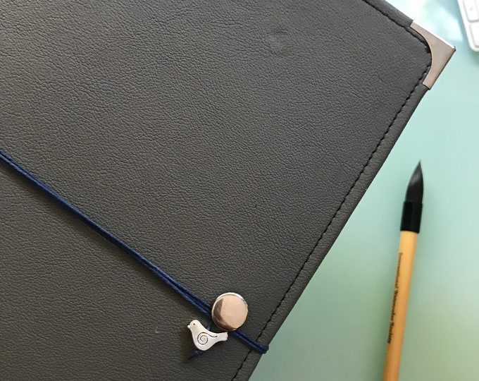 Gray Leather Watercolor Journal - Sketchbook - Peregrine Notebook Blue Cording 40 pages ARCHES 140 Lb. HOT pressed paper