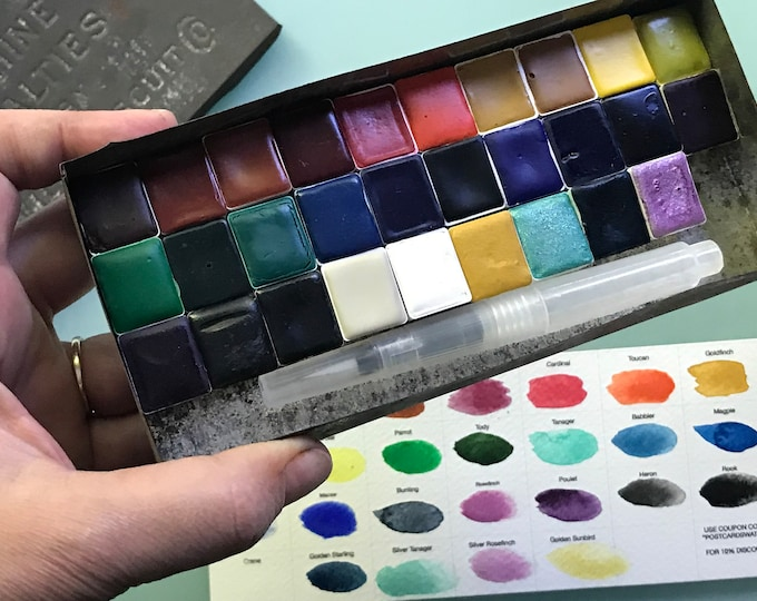 Limited Edition Watercolor Handmade Paint 28 HALF pans  non toxic watercolor paint set in VINTAGE Tobacco Tin (includes 4 Mica paints)