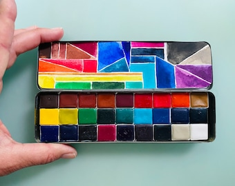 Handmade watercolor paint palette LIMITED edition 27 HALF pan in Pencil Tin