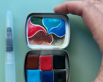 Watercolor handmade travel paint palette tin Mini Tin WADDLE  kit Includes - 6 half pans -  Free Tin and Waterbrush included