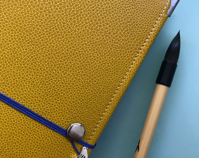 Yellow Leather Watercolor Journal - Sketchbook - Peregrine Notebook Blue Cording 40 pages ARCHES 140 Lb. COLD pressed paper