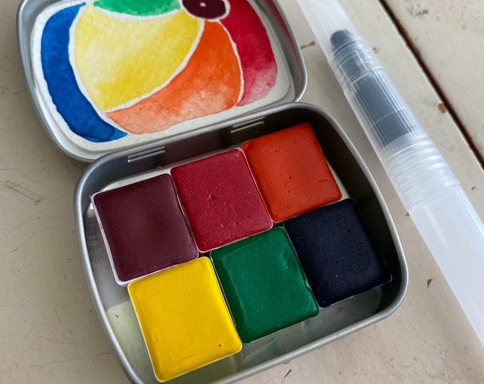 Featured listing image: Watercolor Paint-Handmade set- Mini CONCLAVE set Includes - 6 half pans - Tin and Water brush and Free Shipping in US