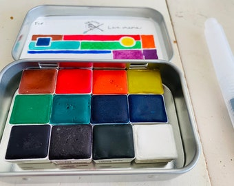 Make Your Own Watercolor Set of 12 Half/Whole pans of your choice travel tin kit - Comes with free water brush