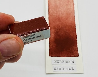 Watercolor paint handmade Northern Cardinal Red Iron Y PR101 - WHOLE and HALF pans