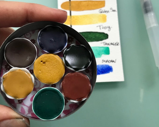 Handmade watercolor paint palette LIMITED edition 7 porcelain well- in vintage Typewriter Tin
