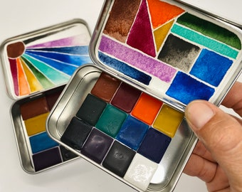 Watercolor PARLIAMENT SET-  handmade travel paint palette with 12 Half pans or 12 Whole pans- free water brush and free shipping in US
