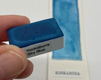 Handmade Watercolor paint B15 Kookabura Sky Blue Artist paint HALF and WHOLE pans - Non toxic