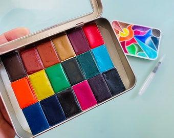Watercolor paint handmade travel palette tin - 18 whole pans of your choice, water brush included