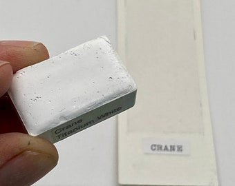 Handmade Watercolor paint PW6 Crane Titanium White  PW6 artist paint HALF and WHOLE pans - Non toxic
