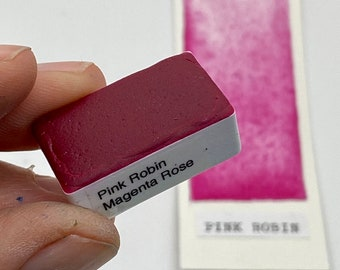 Handmade Watercolor paint PR112N Pink Robin Magenta Rose artist paint HALF and WHOLE Pans  - Non toxic