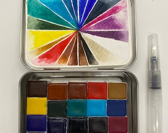Choose your own  20 HALF pans Aquarelle Watercolour Paint Set - FREE Shipping in US