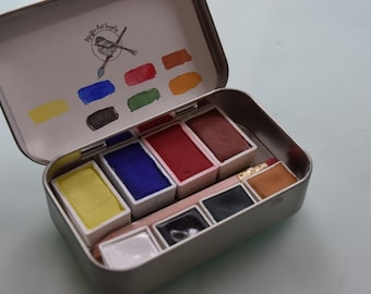 Watercolor paint handmade tin kit- 4 WHOLE pans and 4 HALF pans - Free waterbrush and tin included