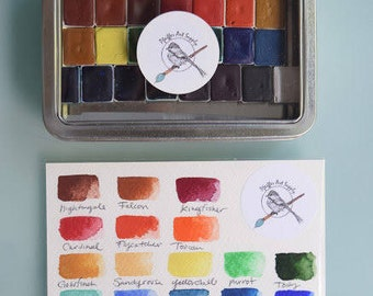 Complete Watercolor Kit Handmade Set of 24 HALF pans of our non toxic watercolor paint kit - Comes with Tin and Waterbrush