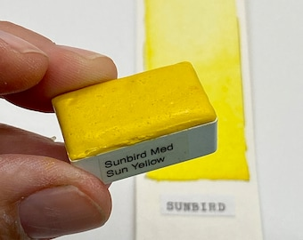 Handmade Watercolor paint PY74 Sunbird Sun Yellow artist paint HALF and WHOLE pans - Non toxic
