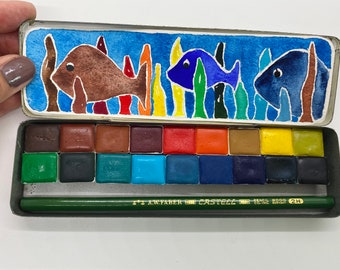 Handmade watercolor paint palette LIMITED edition 18 HALF pan in Pencil Tin