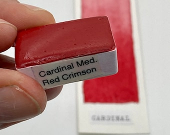Handmade Watercolor paint PR112 Cardinal Med Red Crimson  artist  paint WHOLE and HALF pans -  Non toxic