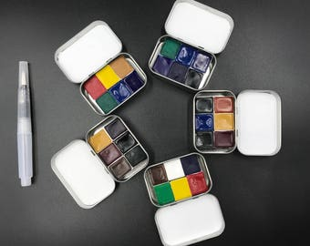 Watercolor travel paint tins palette -Handmade- Non-Toxic- Six HALF pan mini kits - Waterbrush included