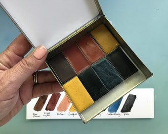 Limited Edition Watercolor Handmade Paint 8 WHOLE pans  non toxic watercolor paint set in  Tin (includes 2 Mica paints) FREE Shipping in U.S