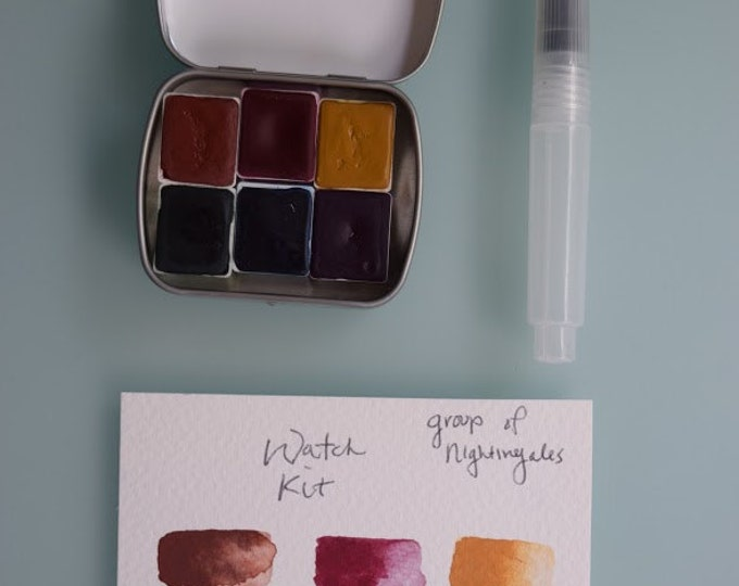 Watercolor travel paint palette tin Mini WATCH Includes - 6 half pans - Free Tin and Waterbrush included