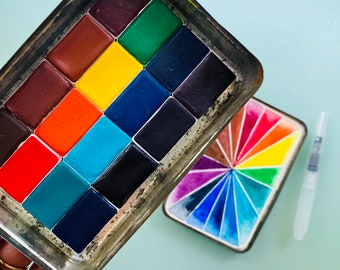 Limited Edition Watercolor Handmade Paint 16 WHOLE pans  watercolor paint set in vintage Cigar Tin FREE Shipping in U.S