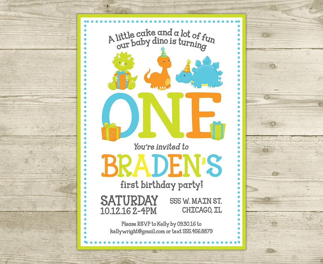 Dinosaur Birthday Invitation Birthday Invite DIGITAL FILE | Etsy