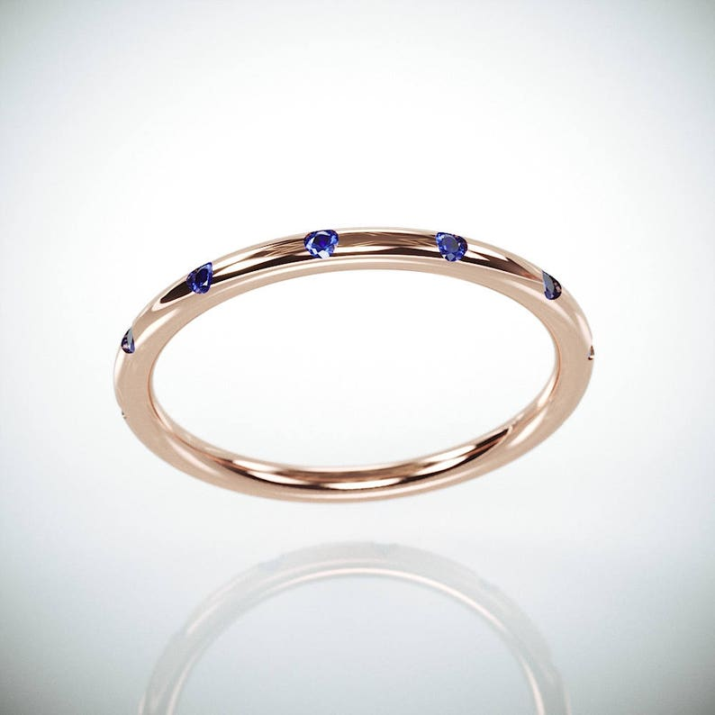 10/% OFF 14k Rose Gold Wedding Ring set with Blue Sapphire 14k solid rose gold wedding ring set with 12 brilliant natural sapphire